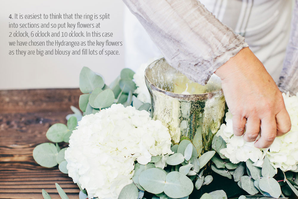 step by step guide how to make wedding centrepieces - rustic glamour