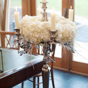 white-hydrangeas-silver-candelabra-wedding-flowers winter wonderland wedding mythe barn