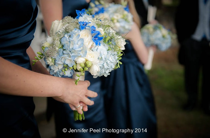 Blue and White Bridesmaids Bouquets with Nave Bridesmaids Dresses by Passion for Flowers
