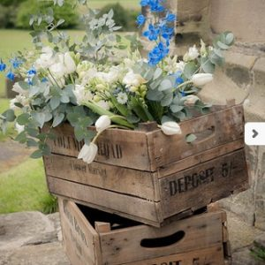 Blue White Flowers in Wooden Crate for Rustic Glamour Wedding at Sandon Hall by Passion for Flowers