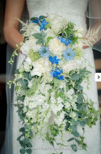 Blue White Trailing Wedding Bouquet by Passion for Flowers