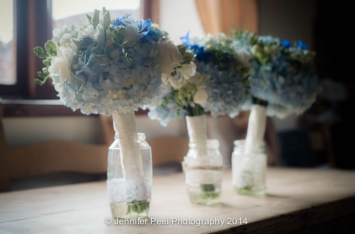Blue White Wedding Bridesmaids Bouquets in Jar Jars to Keep Them Fresh by Passion for Flowers