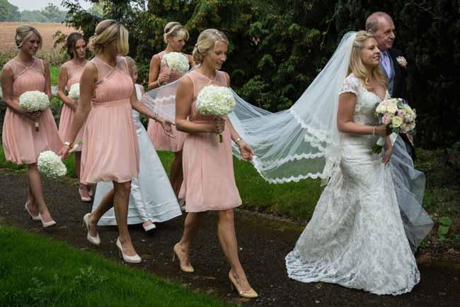 Cream hydrangea bouquets with blush pink bridesmaids dresses (1)