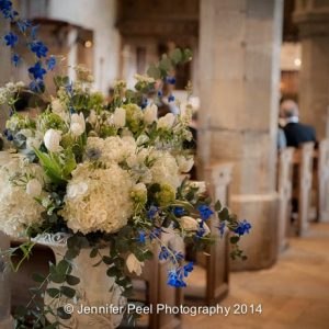 Stone Urn Church Wedding Flowers BLue and White by Passion for Flowers