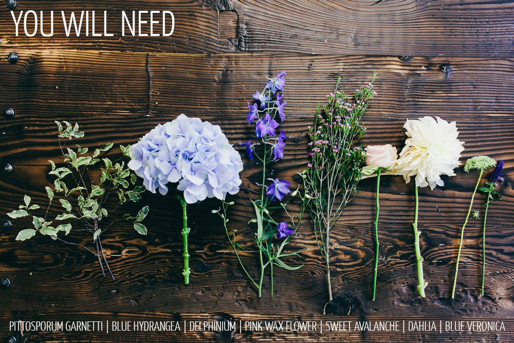 step by step guide how to make a floral wedding centrepiece for rustic weddings using a wooden crate by Passion for Flowers
