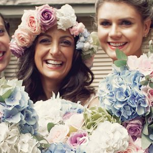 pastel coloured hydrangea bouquets flower crown blue pink green
