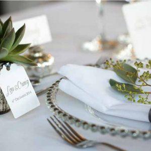 succulent wedding favours in mercury silver pots