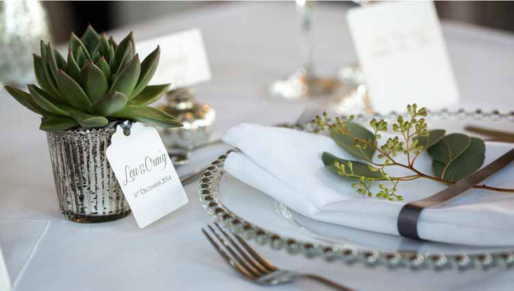 succulent wedding favours in mercury silver pots