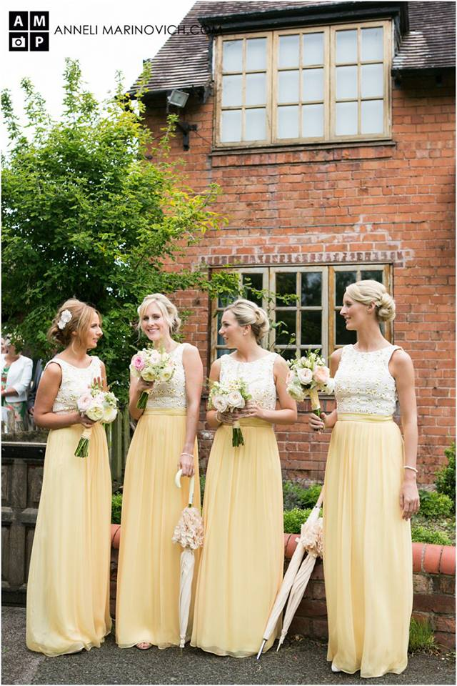 Iscoyd-Park-Wedding-Flowers-Lemon-Yellow-Bridesmaids-Dresses