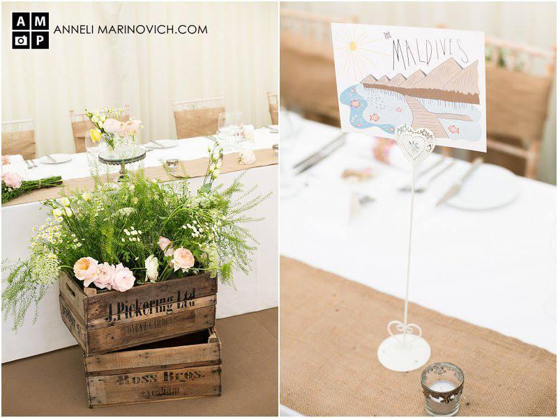 Iscoyd-Park-Wedding-Flowers-rustic-crates-with-flowers-hessian-table-runners