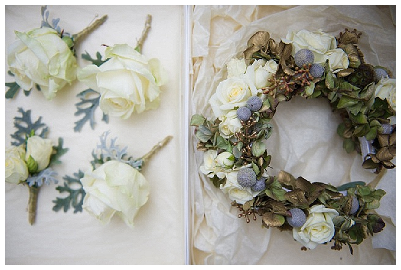 white-grey-wedding-hair-flower-crown-button-holes