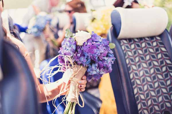 blue hydrangea bouquet country style rustic wedding