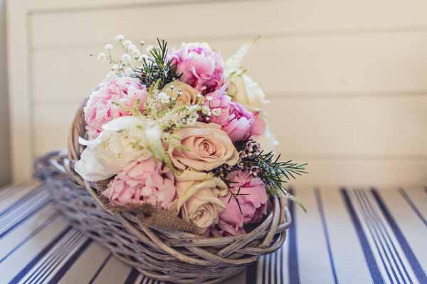 bridal bouquet pink peonies blush roses with texture in basket (3)