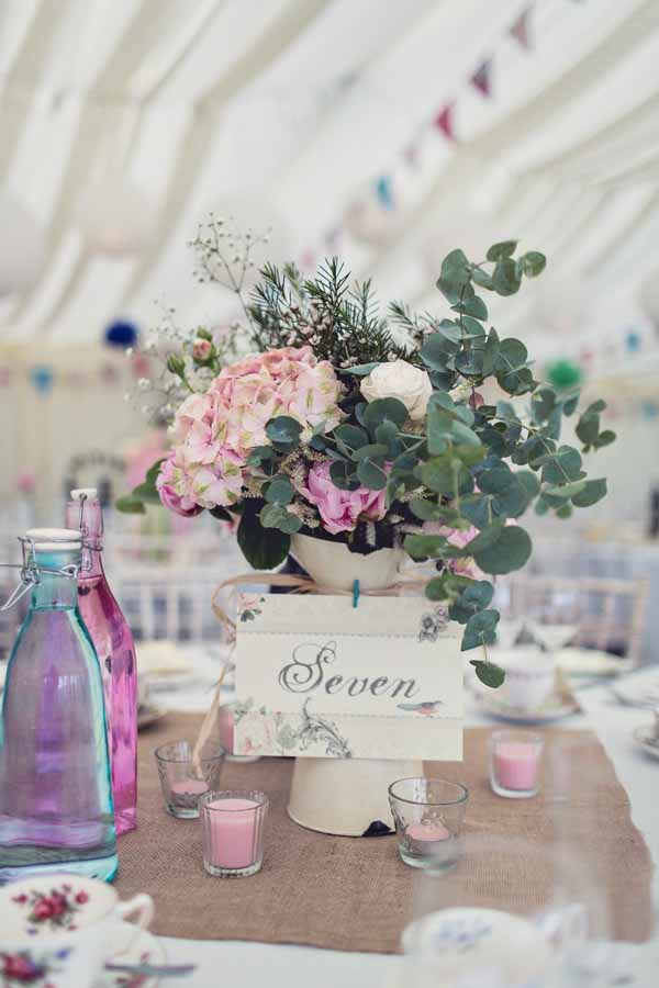 jug wedding centrepiece summer wedding marquee pink and green flowers
