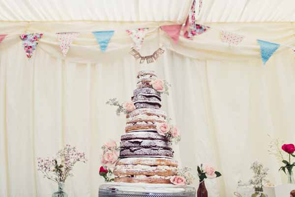 naked wedding cake flower decoration country garden weddings