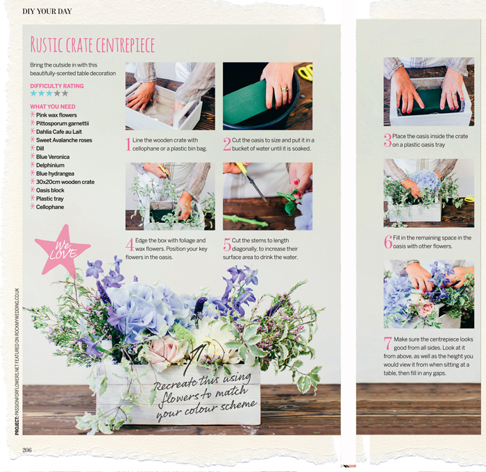 passion for flower perfect wedding magazine how to make a rustic centrepiece in a wooden crate box