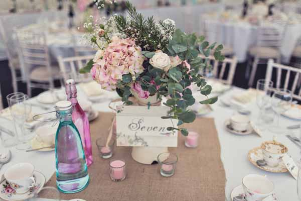 wedding table centrepieces cream jugs large pink hydrangeas peonies roses eucalyptus summer marquee wedding (1)