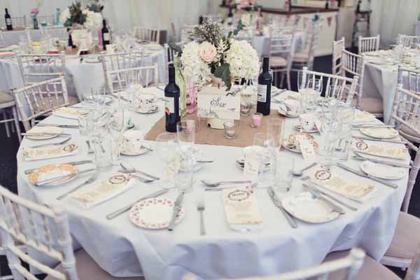 wedding table centrepieces cream jugs large pink hydrangeas peonies roses eucalyptus summer marquee wedding (2)