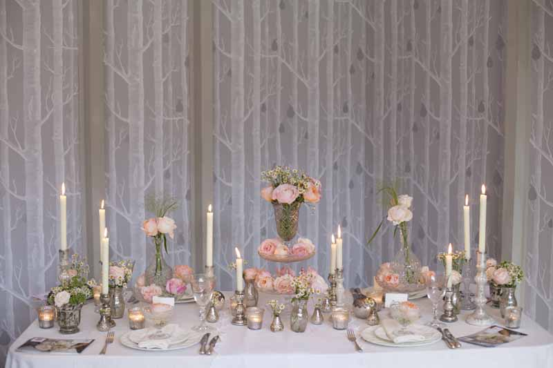 Elegant wedding table centres blush pink roses in clear glass crystal bowls vases decanters cake stands by Passion for Flowers (1)