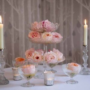 Peach Juliet David Austin Roses on crystal glass cake stands wedding centrepieces elegant Hampton Manor Wedding Florist Passion for Flowers (65)