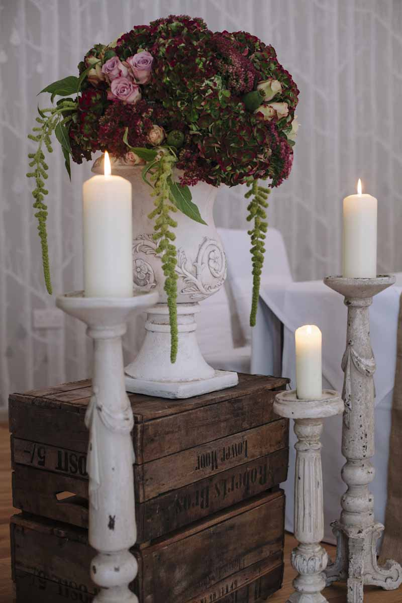 Stone Urns Candle Sticks On Crates Hampton Manor Wedding Florist Passion for Flowers