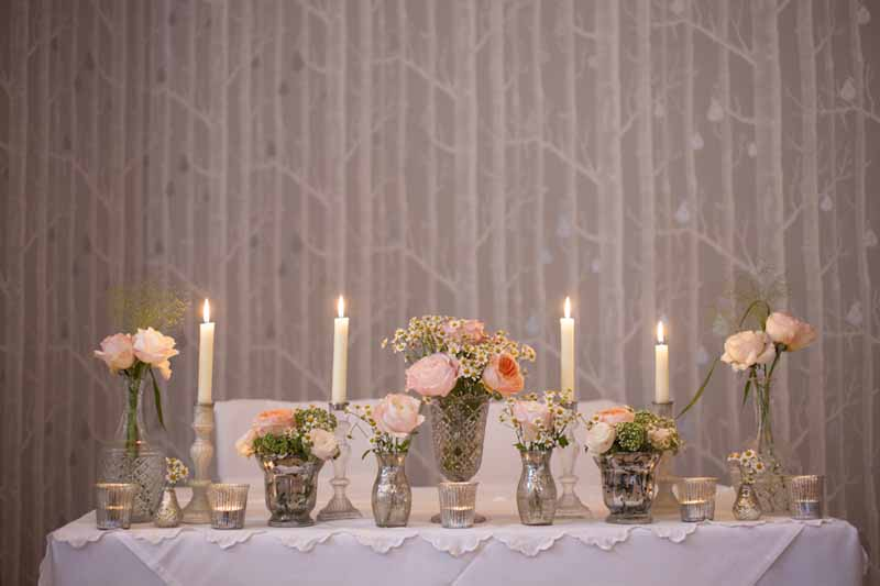 Summer Pink David Austin roses in crystal glasses candles Hampton Manor Wedding Florist Passion for Flowers  (2)