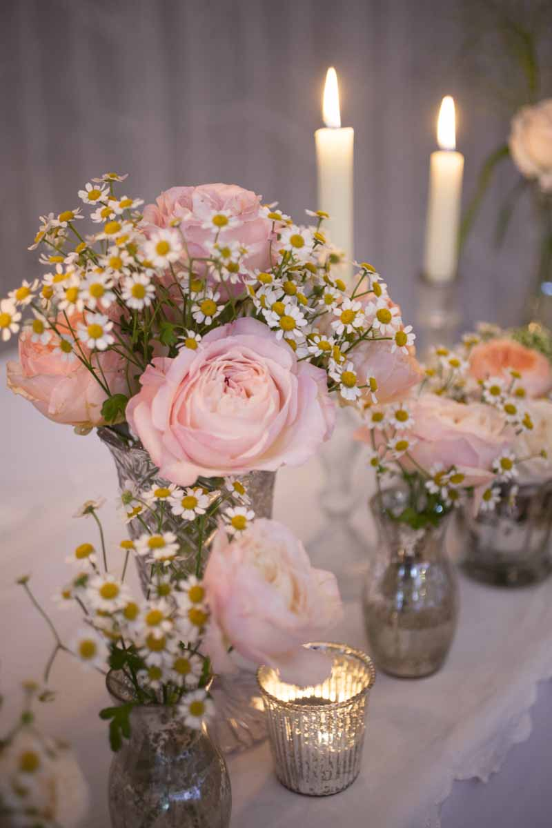 Summer Pink David Austin roses in crystal glasses candles Hampton Manor Wedding Florist Passion for Flowers  (3)