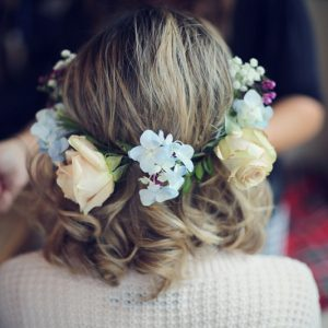 half hair flower crown vintage wedding flowers (2)