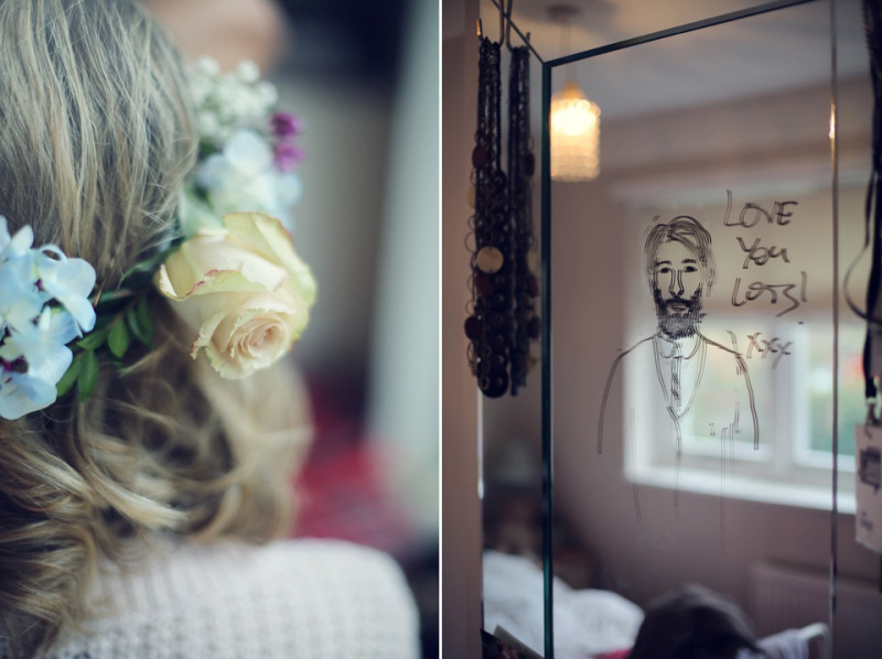 half hair flower crown vintage wedding flowers (3)