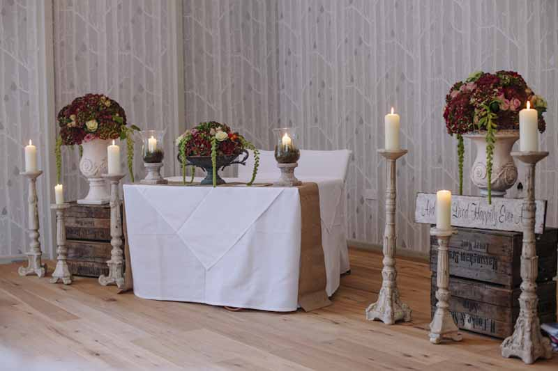 rustic woodland wedding ceremony flowers at Hampton Manor Wedding Florist Passion for Flowers (9)