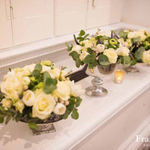 Compton Verney Wedding Flowers Windown Sill Decorations Footed Bowls of Roses Eucalyptus