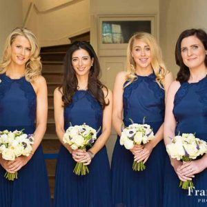 Spring white bridesmaids bouquets navy blue dresses Compton Verney Wedding Flowers Passion for Flowers