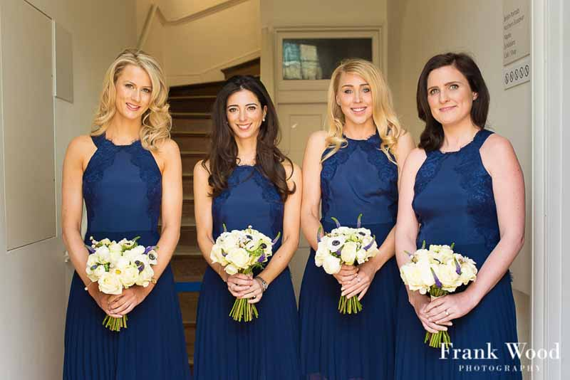 Blue wedding flowers passion for flowers spring white bridesmaids bouquets navy blue dresses compton verney wedding flowers passion for flowers mightylinksfo