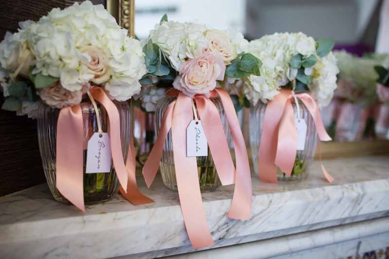 Bridesmaids Bouquets peach cream blush pink roses hydrangeas Hampton Manor Wedding Flowers Passion for Flowers (1)
