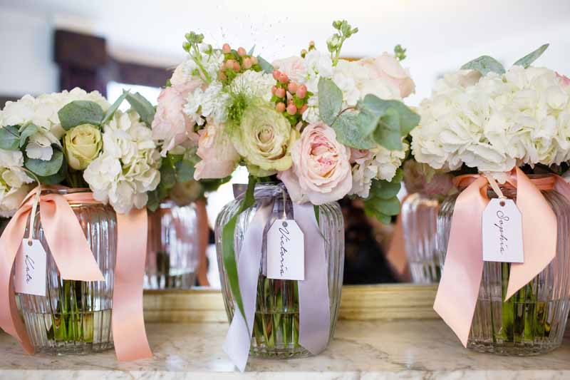 Bridesmaids Bouquets peach cream blush pink roses hydrangeas Hampton Manor Wedding Flowers Passion for Flowers (2)