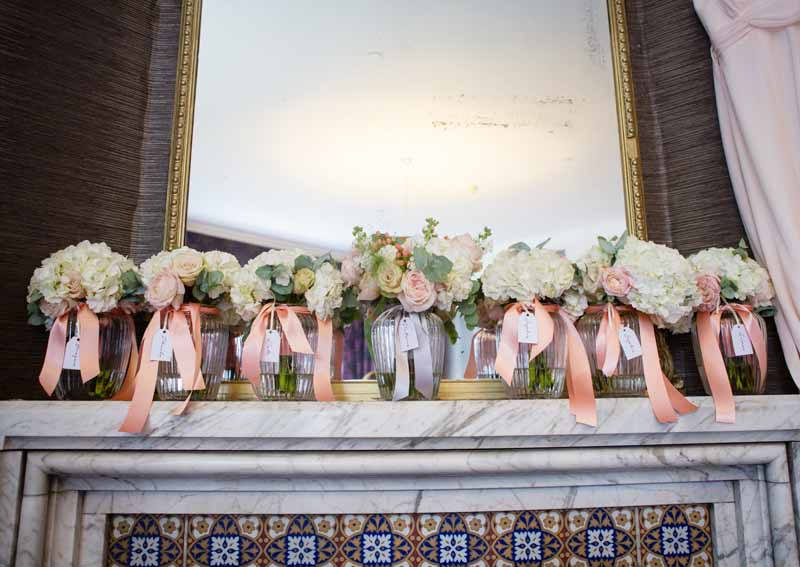 Bridesmaids Bouquets peach cream blush pink roses hydrangeas Hampton Manor Wedding Flowers Passion for Flowers (3)