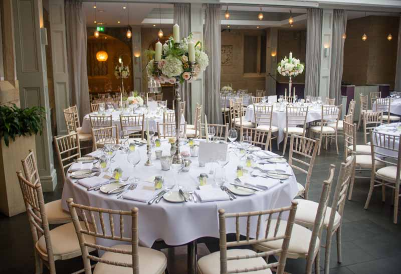 Candelabra Centrepieces Silver peach roses white hydrangeas Hampton Manor Wedding Flowers Passion for Flowers (1)