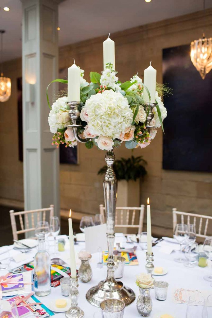 Candelabra Centrepieces Silver peach roses white hydrangeas Hampton Manor Wedding Flowers Passion for Flowers (2)