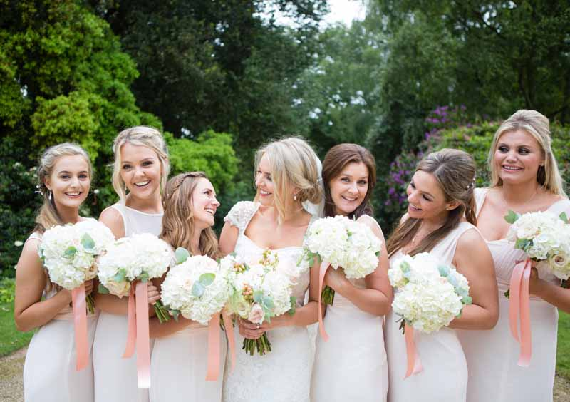 White hydrangea bridesmaids bouquets Hampton Manor Wedding Flowers Passion for Flowers