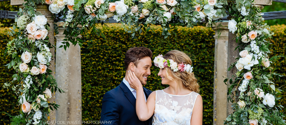 floral arch outdoor wedding ceremony flower crown passion for flowers