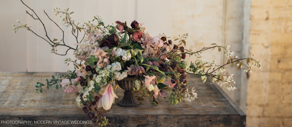 wedding centrepiece loose trailing aysemmetric design passion for flowers autumn colours