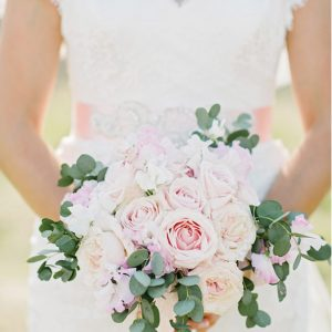 Blush Pink Rose Free Form Weddng Bouquet Trailing with Ribbons (2)