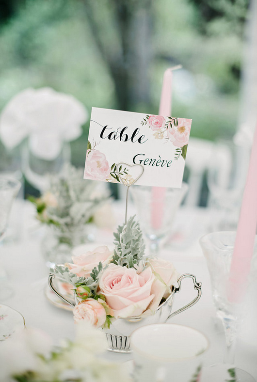 Blush Pink Roses Dusty Miller in Tea Cups for Wedding Table Names