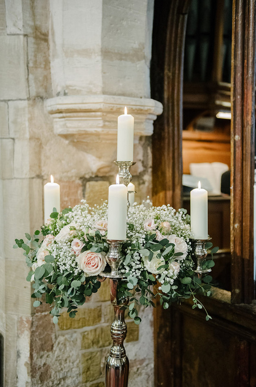 Large Floor Standing Candelabra Blush Pink Roses Eucalyptus Foliage Packwood Church Wedding Flowers Passion for Flowers (7)
