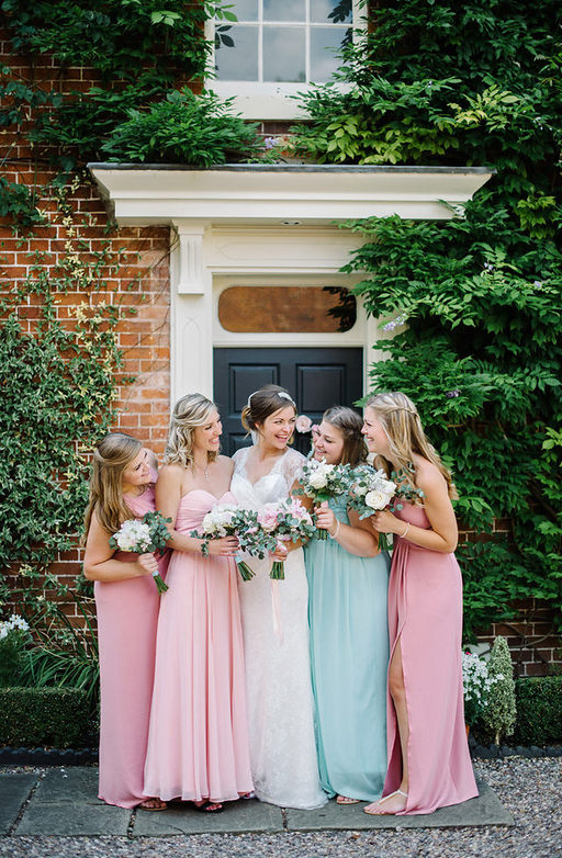 Pastel Coloured Bridesmaids Dresses Relaxed Wedding Bouquets Blush Pink Roses Passion for Flowers (3)