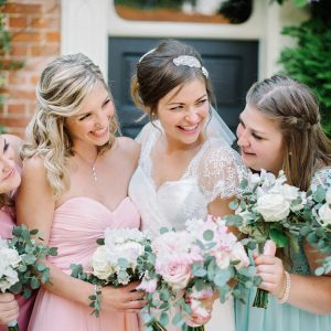 Pastel Coloured Bridesmaids Dresses Relaxed Wedding Bouquets Blush Pink Roses Passion for Flowers (4)
