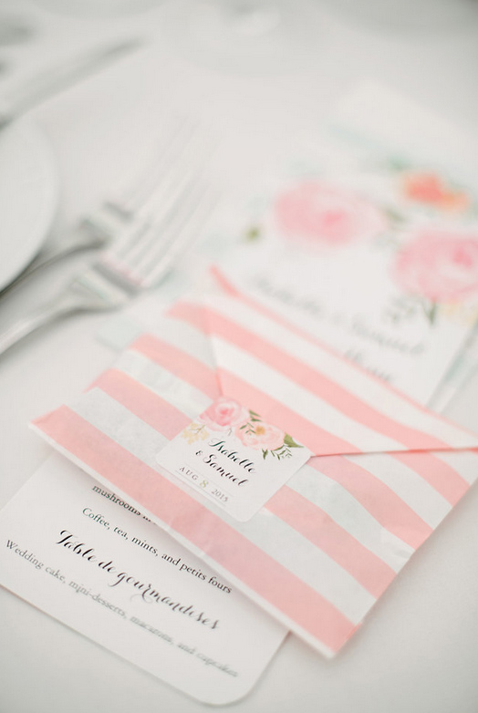 Wedding Favours in Blush Pink Paper Bags Stiped