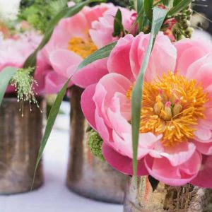 coral and gold wedding flowers (1)