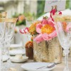 coral charm peonies in gold vases wedding centrepiece