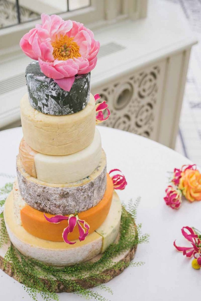 coral peonies on wedding cheese cake